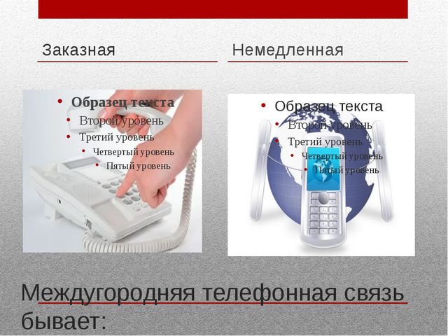 Междугородняя телефонная связь бывает: Заказная Немедленная