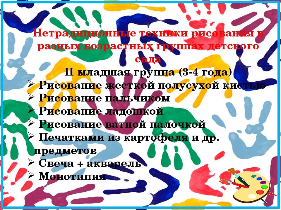 Нетрадиционные техники рисования в разных возрастных группах детского сада II...