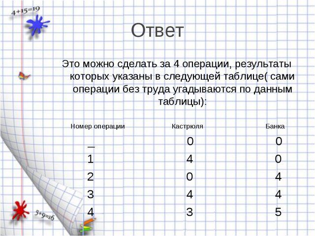 Ответ Это можно сделать за 4 операции, результаты которых указаны в следующей...