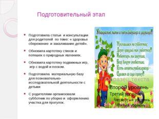 Подготовительный этап Подготовила статьи и консультации для родителей по тем