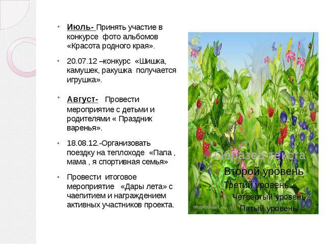 Июль- Принять участие в конкурсе фото альбомов «Красота родного края». 20.07....