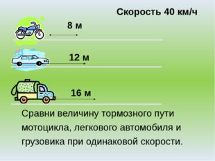 8 м 12 м 16 м Скорость 40 км/ч Сравни величину тормозного пути мотоцикла, ле