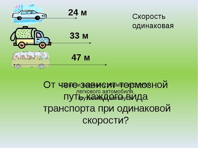 -Сравни величину тормозного пути легкового автомобиля, грузовика и автобуса....