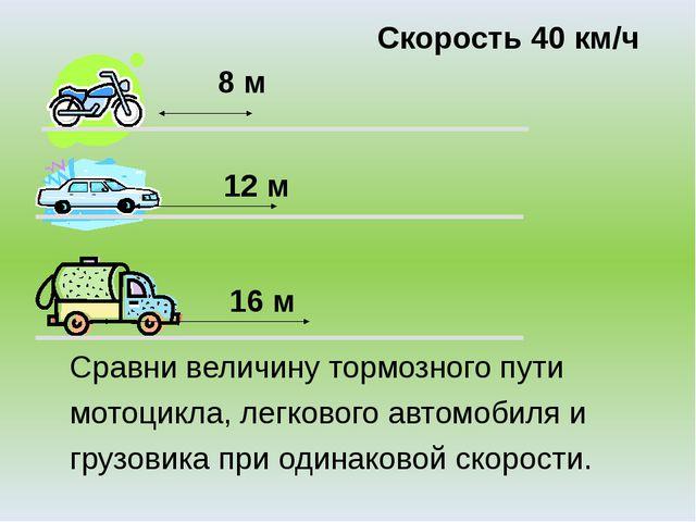 8 м 12 м 16 м Скорость 40 км/ч Сравни величину тормозного пути мотоцикла, ле...