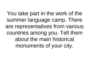 You take part in the work of the summer language camp. There are representati
