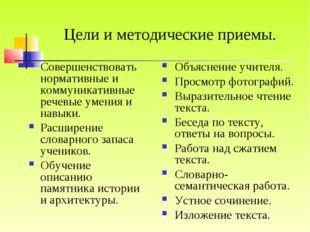 Цели и методические приемы. Совершенствовать нормативные и коммуникативные ре
