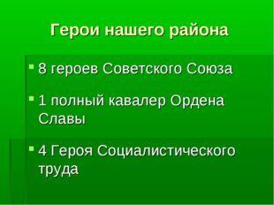 Герои нашего района 8 героев Советского Союза 1 полный кавалер Ордена Славы 4