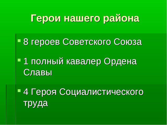 Герои нашего района 8 героев Советского Союза 1 полный кавалер Ордена Славы 4...