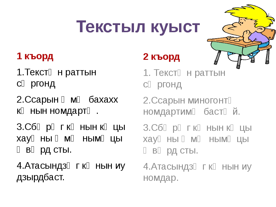 Текстыл куыст 1 къорд 1.Текстӕн раттын сӕргонд 2.Ссарын ӕмӕ бахахх кӕнын номд...