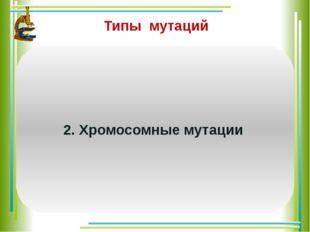 Типы мутаций Изменения структуры хромосом. Различают следующие виды хромосом