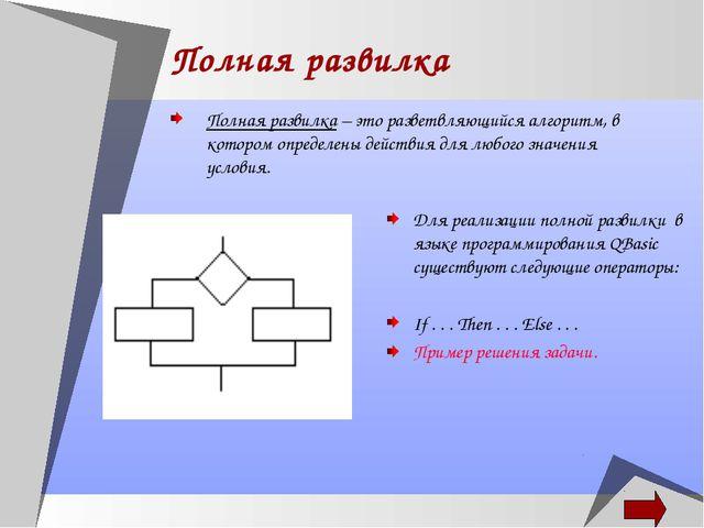 Полная развилка Полная развилка – это разветвляющийся алгоритм, в котором опр...