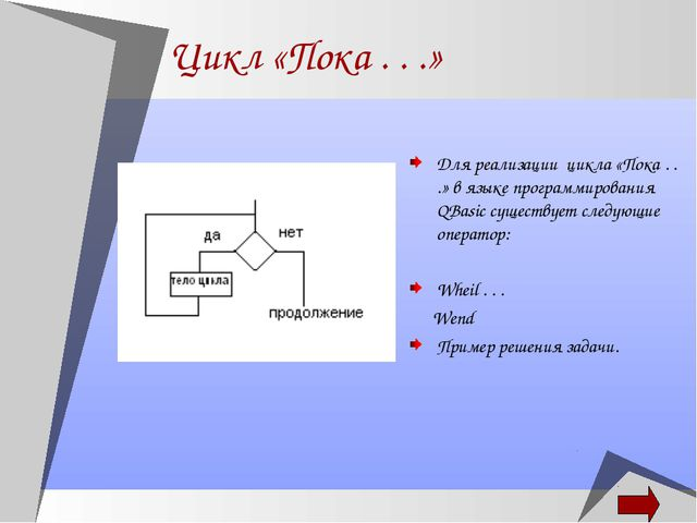 Цикл «Пока . . .» Для реализации цикла «Пока . . .» в языке программирования...