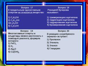 Вопрос 17 К предельным одноатомным спиртам не относится вещество: 1) С2Н5ОН