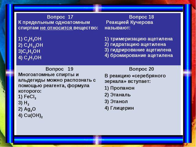 Вопрос 17 К предельным одноатомным спиртам не относится вещество: 1) С2Н5ОН...