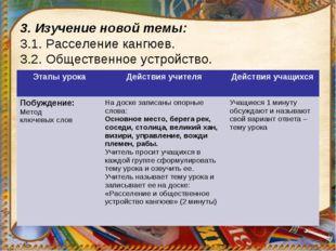 3. Изучение новой темы: 3.1. Расселение кангюев. 3.2. Общественное устройство