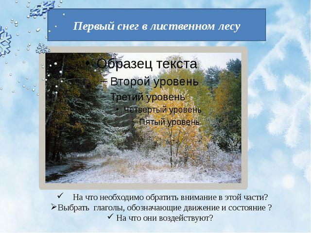 Первый снег в лиственном лесу На что необходимо обратить внимание в этой част...