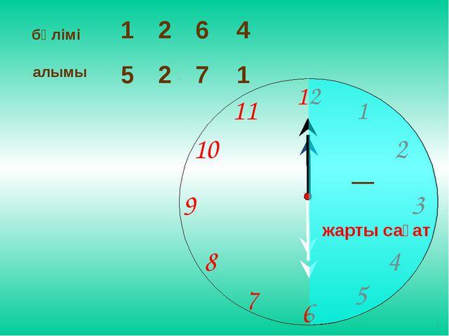 бөлімі 1 6 4 алымы 5 2 7 2 1 жарты сағат 1 2 9 6 12 11 10 8 7 4 5 3