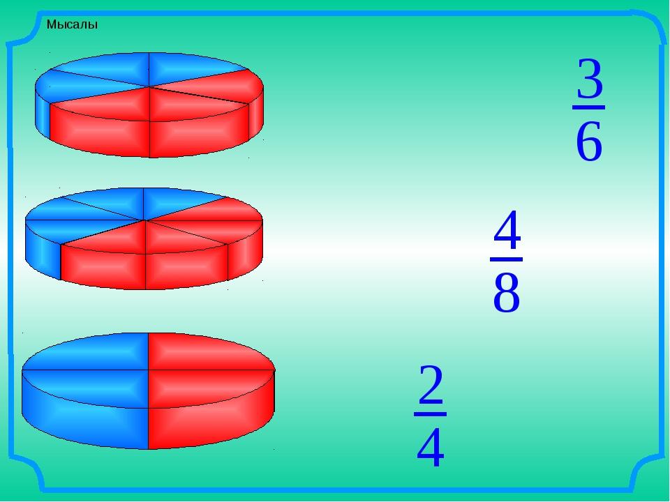 Мысалы 6 3 8 4 4 2 От первого пирога отрезали 3/6 части, от второго – 4/8, от...