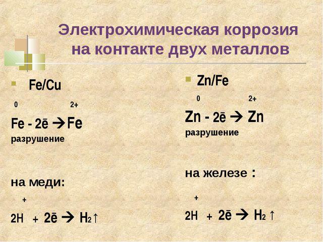 Электрохимическая коррозия на контакте двух металлов Fe/Cu 0 2+ Fe - 2ē Fe р...