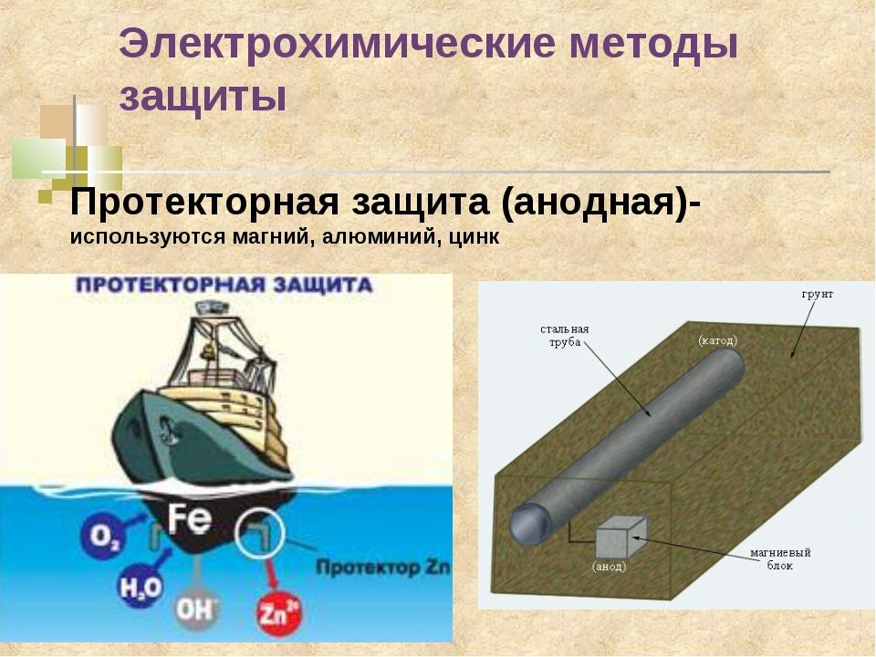 Электрохимические методы защиты Протекторная защита (анодная)- используются м...