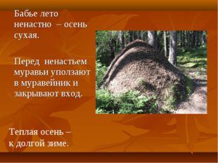Бабье лето ненастно – осень сухая. Перед ненастьем муравьи уползают в муравей