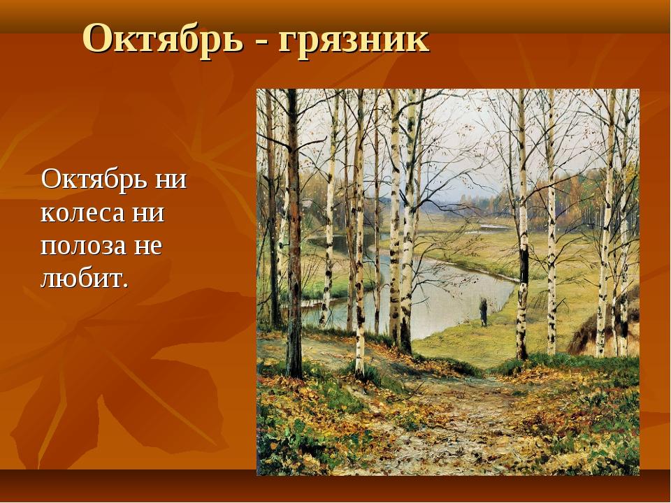 Октябрь - грязник Октябрь ни колеса ни полоза не любит.