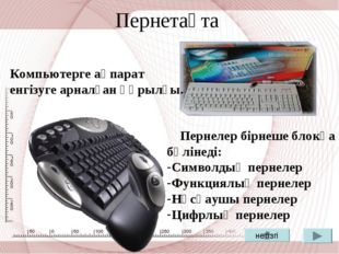 Пернетақта Компьютерге ақпарат енгізуге арналған құрылғы. Пернелер бірнеше бл