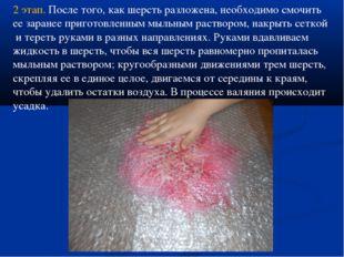 2 этап. После того, как шерсть разложена, необходимо смочить ее заранее приго