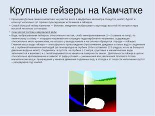 Крупные гейзеры на Камчатке Кроноцкая Долина самая компактная: на участке все