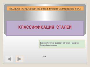 МБС(К)ОУ «С(К)ОШ №14 IIIV вида г. Губкина Белгородской обл.» Выполнил учитель