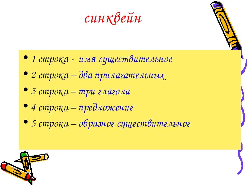 синквейн 1 строка - имя существительное 2 строка – два прилагательных 3 строк...