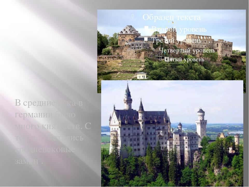В средние века в германии было много княжеств. С тех пор остались средневеков...