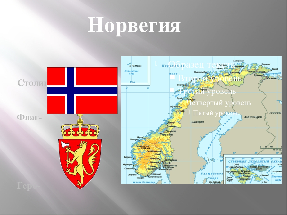 Столица –Осло Флаг- Герб- Норвегия