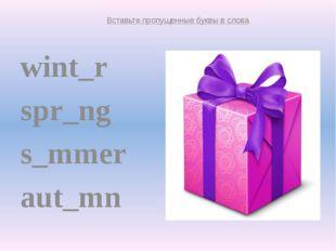 wint_r spr_ng s_mmer aut_mn winter spring summer autumn Вставьте пропущенные