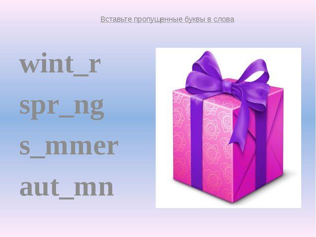 wint_r spr_ng s_mmer aut_mn winter spring summer autumn Вставьте пропущенные...