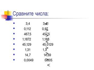 Сравните числа: 3,4 3,41 0,112 0,97 467,5 457,5 1,1872 1,188 45,129 45,0129 1