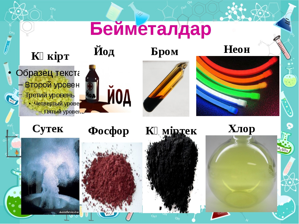 Бейметалдар Күкірт Хлор Көміртек Фосфор Сутек Йод Бром Неон