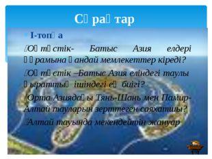 Сұрақтар І-топқа Оңтүстік- Батыс Азия елдері құрамына қандай мемлекеттер кір