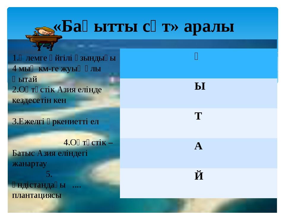 «Бақытты сәт» аралы 1.Әлемге әйгілі ұзындығы 4 мың км-ге жуық Ұлы Қытай 2.Оңт...