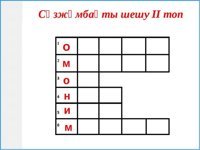 Сөзжұмбақты шешу ІІ топ о м о н и м