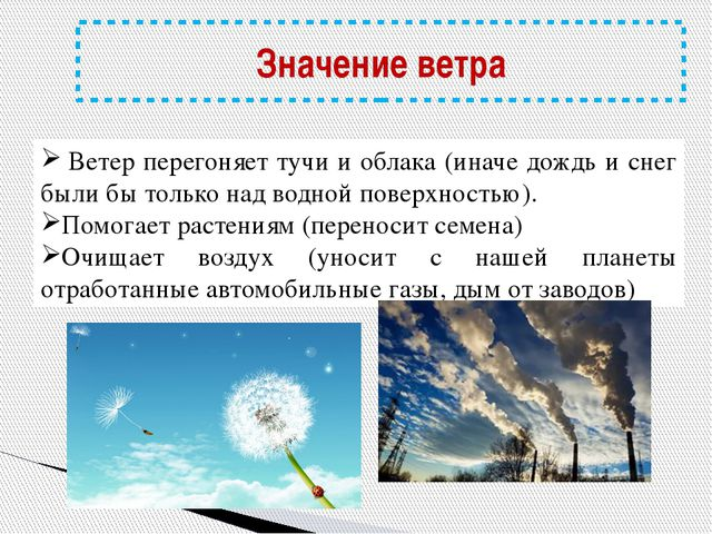 Значение ветра Ветер перегоняет тучи и облака (иначе дождь и снег были бы то...
