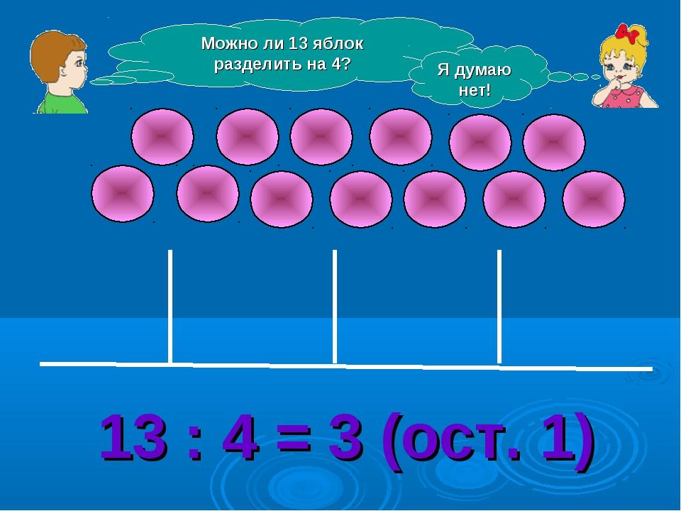 Можно ли 13 яблок разделить на 4? Я думаю нет! 13 : 4 = 3 (ост. 1)