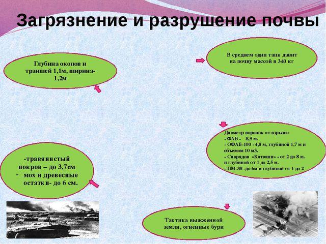 Загрязнение и разрушение почвы В среднем один танк давит на почву массой в 34...