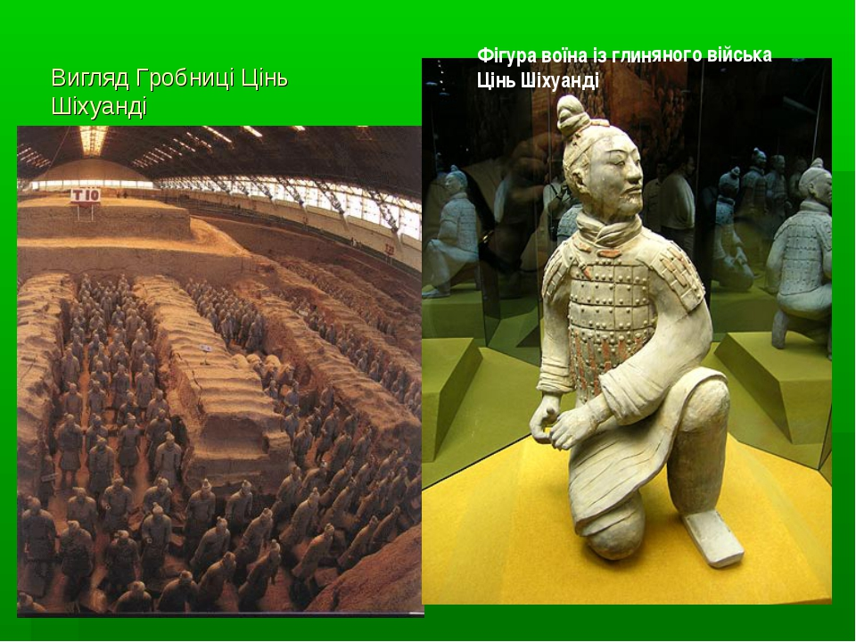 Вигляд Гробниці Цінь Шіхуанді Фігура воїна із глиняного війська Цінь Шіхуанді