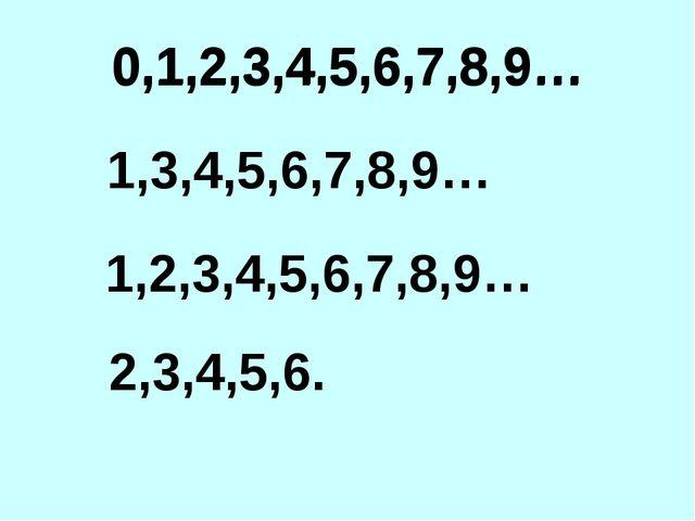 0,1,2,3,4,5,6,7,8,9… 1,3,4,5,6,7,8,9… 1,2,3,4,5,6,7,8,9… 2,3,4,5,6. 0,1,2,3,4...