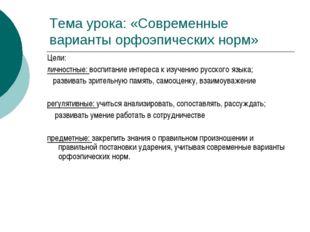Тема урока: «Современные варианты орфоэпических норм» Цели: личностные: воспи