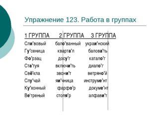 Упражнение 123. Работа в группах 1 ГРУППА 2 ГРУППА 3 ГРУППА Сли'вовый бало'ва