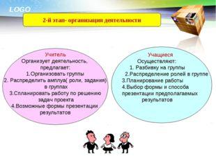 2-й этап- организация деятельности Учитель Организует деятельность, предлагае
