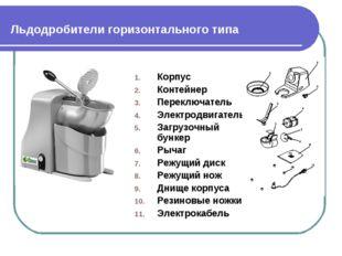 Льдодробители горизонтального типа Корпус Контейнер Переключатель Электродвиг
