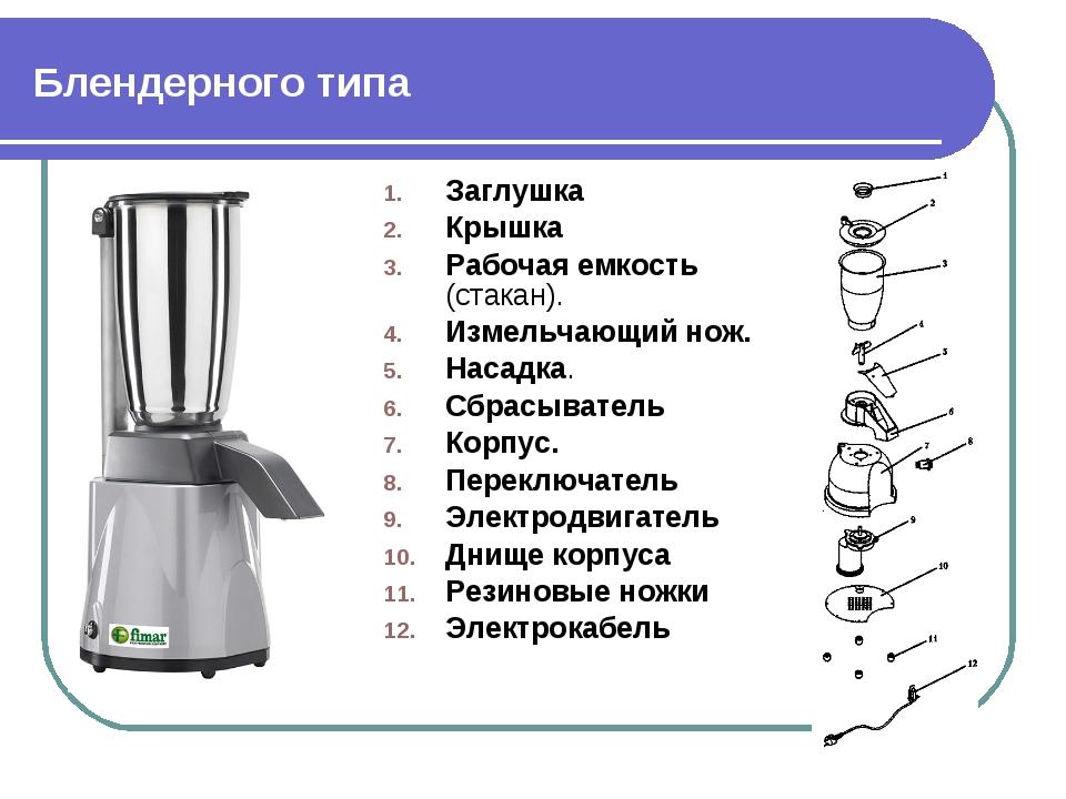Блендерного типа Заглушка Крышка Рабочая емкость (стакан). Измельчающий нож....